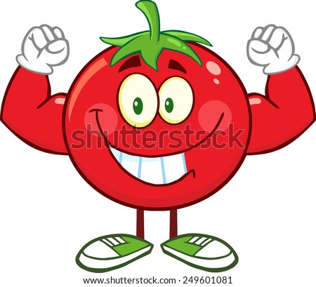 Strong Tomato Cartoon Mascot Character Flexing. Vector Illustration Isolated On White - stock vector