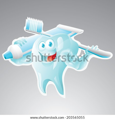 Strong tooth with toothbrush and toothpaste - stock vector