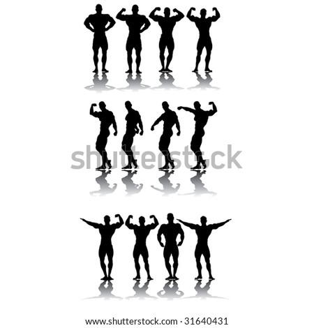 Strongest athletes in different poses vector silhouettes