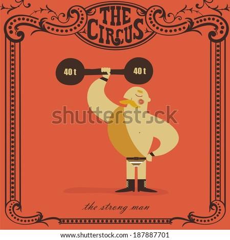 strongman lifting weights - stock vector