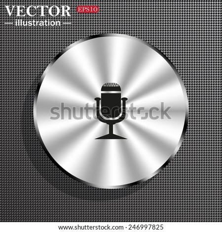 Structural gray background with a metallic circle, with shadow. Microphone. Voice recording, vector illustration, EPS 10 - stock vector