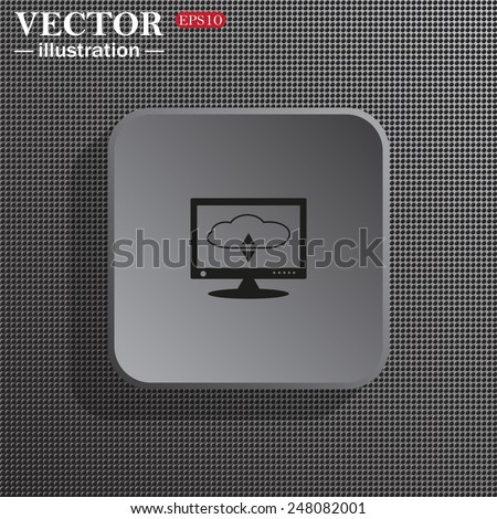 Structural gray background with shadow, gray square, cloud storage on the computer, vector illustration, EPS 10 - stock vector