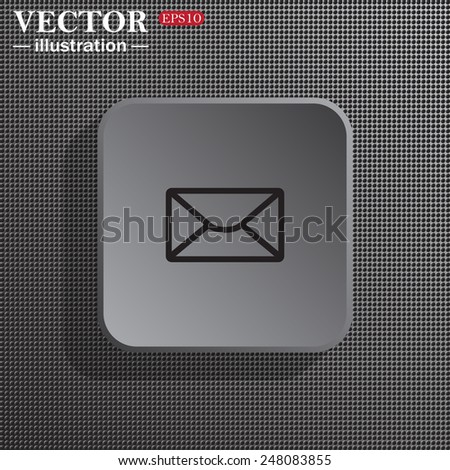 Structural gray background with shadow, gray square, envelope lette , vector illustration, EPS 10 - stock vector