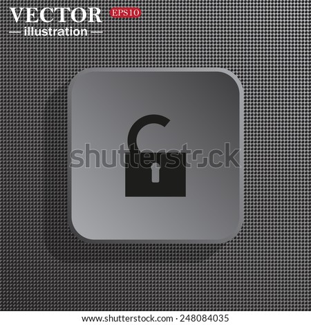 Structural gray background with shadow, gray square, open lock, vector, EPS 10