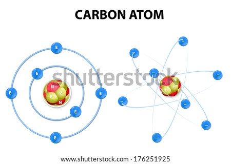 structure carbon atom on white background. - stock vector