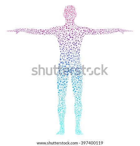 Structure molecule of man. Abstract model human body of DNA . Vector illustration. Medicine, science and technology.
