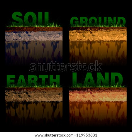 structure of soil cut on black - stock vector