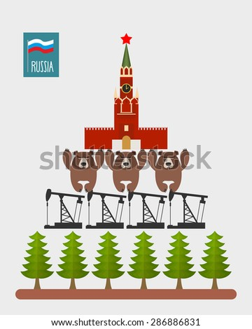 Structure Russia. Moscow Kremlin is based on  three bears. Bears stand on oil rigs. Oil pumps are on forest. Infographic Russian Federation. Vector illustration. - stock vector