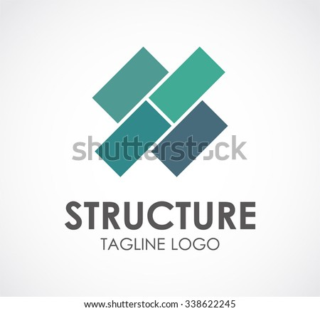 Structure square of blocks abstract vector and logo design or template construction business icon of company identity symbol concept - stock vector
