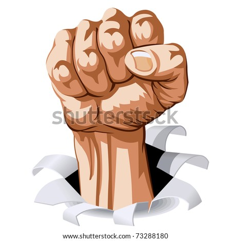 Struggle Hand break Through White Background. Vector Illustration - stock vector