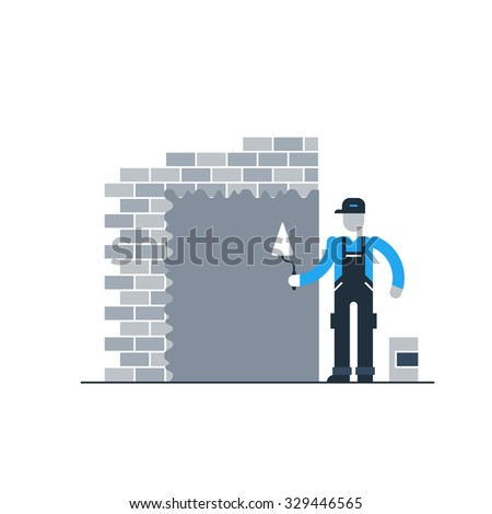 Stucco worker, builder at work, construction man in jumpsuit - stock vector