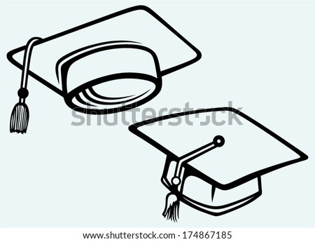 Student accessories. Graduation cap. Image isolated on blue background - stock vector