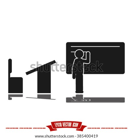 student at the blackboard icon - stock vector