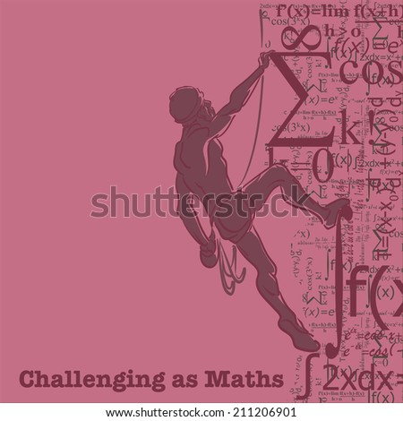 Student climbing to the top of knowledge. Vector illustration. - stock vector
