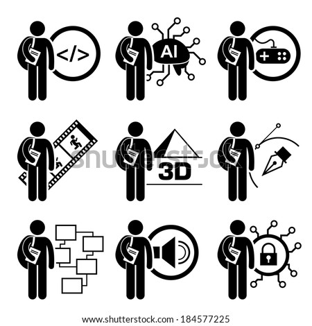 Student Degree in Information Technology Stick Figure Pictogram Icon - stock vector