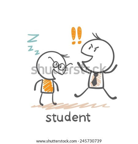 student fell asleep in front of the teacher illustration