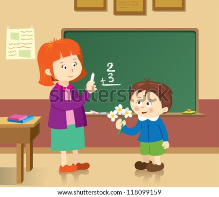 Student gave a gift to teacher - stock vector