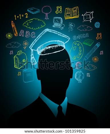 Student head intelligence - stock vector