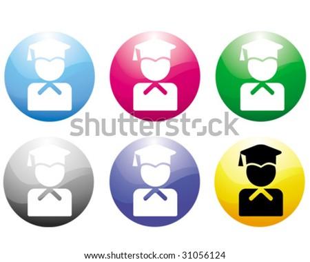 Student icon - stock vector