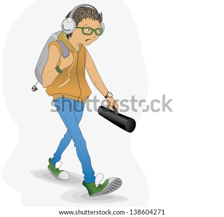 Student in a hurry - stock vector