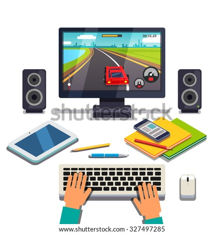 Student is gaming on a desktop computer pc. Tablet, cellphone and textbooks lying in front of player hands on the keyboard. Flat style vector illustration isolated on white background. - stock vector