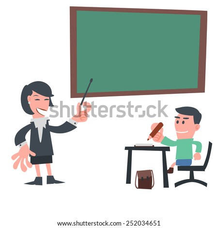 Student Learning in Classroom - stock vector