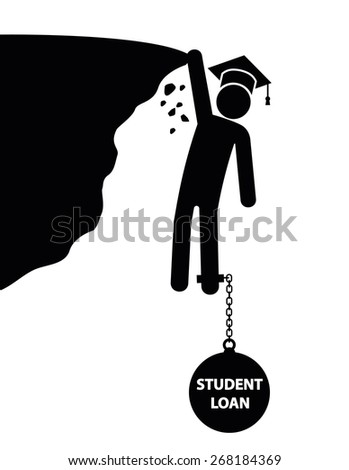 Student loan concept. Student stick man falling down the cliff, pulled down by the weight of student loan. - stock vector