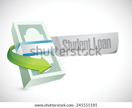student loan money bills illustration design over a white background - stock vector