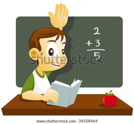 Student raising up his hand answering his teacher question - stock vector