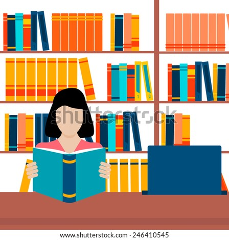 Student reading open book in the  library, vector illustration - stock vector