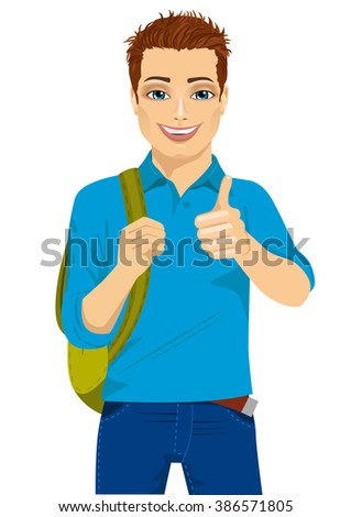 student showing thumbs up hand sign ready to go back to college