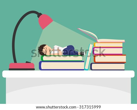 Student sleeps on book under light of lamp. Flat illustration about deep sleep - stock vector