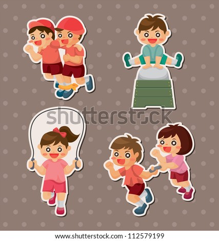 student sport game stickers - stock vector
