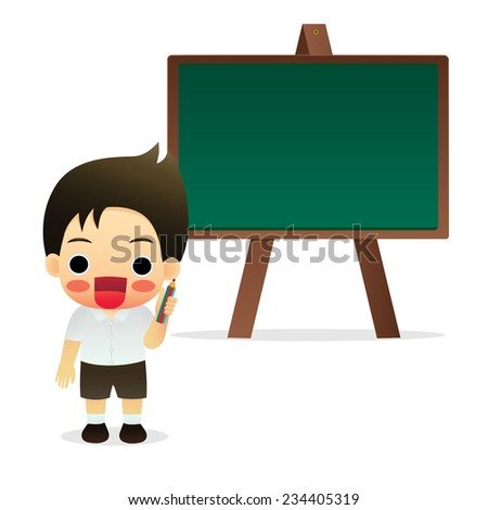 student standing in front of a blackboard - stock vector