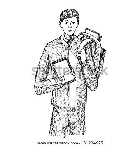 Student with a book and a rucksack - stock vector