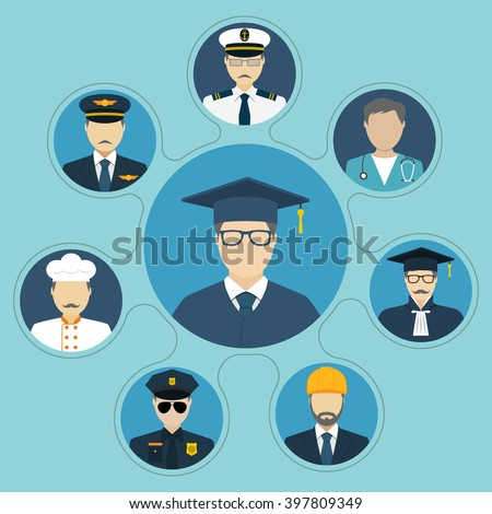 Student with a choice of professions. Career choice options. Set of people occupations icons, flat design style. Vector illustration. Education and career concept. Graduate. Professions people.