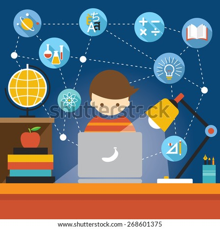 Student with Laptop Computer Education Concept and Icons, Learning and Study in Flat Design Style - stock vector