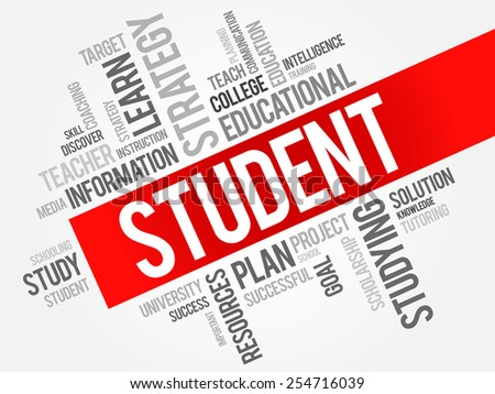 STUDENT word cloud, education concept - stock vector