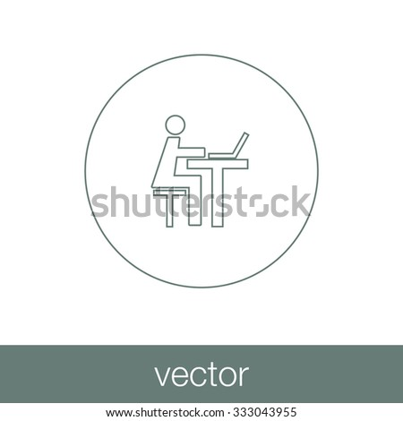 Student working on a computer. Worker working on a computer. Concept flat style design illustration icon. - stock vector