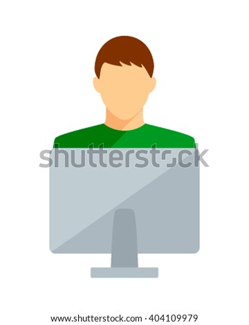 Student young man computer and internet training. Student Computer boy on a white background. Student computer icon vector illustration. - stock vector