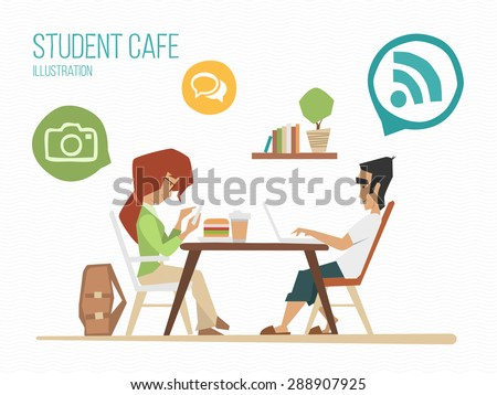 Student youth street urban cafe illustration - stock vector