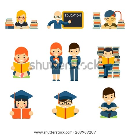 Students and children reading and learn study in class room - stock vector