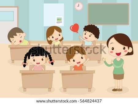 Students Teacher Classroom Stock Vector 564824437