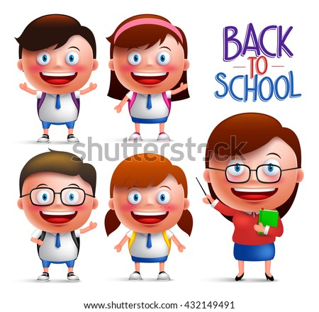 Students and teacher vector character set of boys and girls in uniforms for back to school isolated in white background. Vector illustration  - stock vector