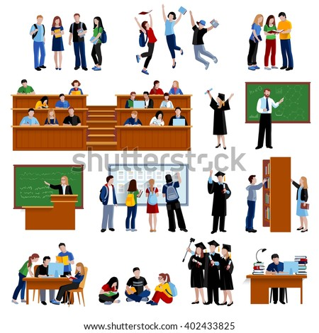 Students At The University - stock vector