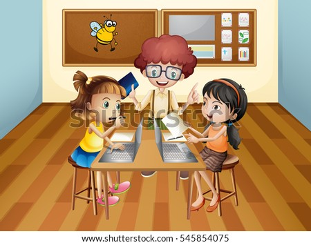 Students learning in classroom illustration