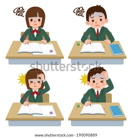 Students of depression - stock vector