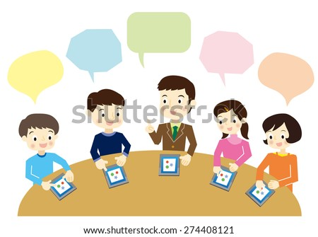 Students to study in the tablet PC - stock vector