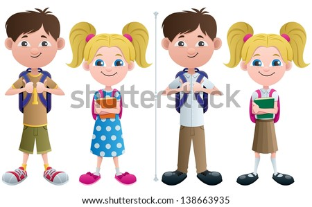 Students: Vector illustration of schoolboy and schoolgirl in 2 versions � with and without uniforms.  No transparency used. Basic (linear) gradients. - stock vector