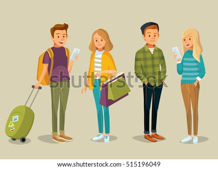Students with gadgets, shopping bags and suitcase